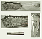 "Chandless, NYC, ""French Thread"" Engraved Coin Silver Fish Slice"