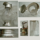 F. Whiting Sterling & Cut Glass Lidded Syrup Jug