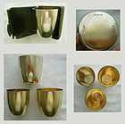 3 Shiebler Nested Sterling Beakers with Leather Case