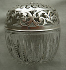 1898 Gorham Sterling Silver and Brilliant Cut Glass Twine Holder