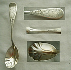 Charming Engraved Mid 19th Century Coin Silver Sugar Spoon