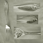 "Polhamus ""Shell"" (""Leaf"") 1855 Coin Silver Place Fork"