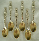"Six Mint, Matching Whiting ""Heraldic"" Sterling Silver Demitasse Spoons"