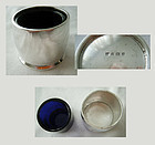 English Sterling Silver Open Master Salt with Cobalt Blue Glass Liner