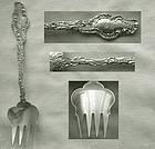 """Unusual Durgin """"Watteau"""" Ramekin or Terrapin Sterling Silver Fork"""