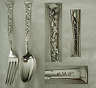 """Tiffany """"Vine"""" (Gourd) Sterling Silver Matched Youth Fork & Spoon"""