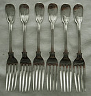 """6 Matched Hebbard & Moore Sterling """"Fiddle Thread"""" Pastry Forks"""