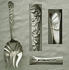 "Scarce Shiebler Art Nouveau ""Flora"" Large Sterling Silver Serving Fork"