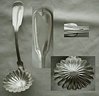 """Early Wood & Hughes """"French Thread"""" Coin Silver Shell Bowl Ladle"""