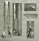 """Large, Heavy Knowles """"Rose"""" (Bug) Sterling Silver Tongs"""