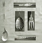 Mid 19th Century American Coin Silver Twist Handle Olive Spoon & Fork