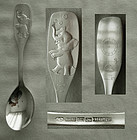 "Sterling ""Dancing Elephant"" Finnish Baby Birth Spoon"