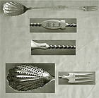 Coin Silver Twist Handle Olive Spoon & Fork, Mid 19th Century