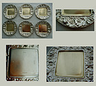 Six Matched Gorham No. 2580 Repousse Sterling Butter Dishes
