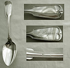"""J. & I. Cox """"French Thread"""" Coin Silver Serving Spoon, Heavy"""