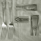 "Pair Schulz & Fischer, San Francisco, ""Templar"" Sterling Dinner Forks"