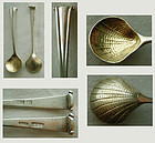"Pair Warner Baltimore Early Marks Silver ""Onslow"" Master Salt Spoons"
