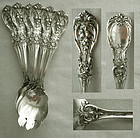 """6 Matched, Old, Reed & Barton """"Francis I"""" Sterling Ice Cream Forks"""