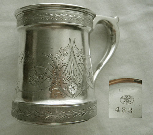 Krider & Biddle, Philadelphia, Bright Cut Coin Silver Mug