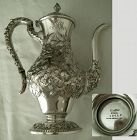 "Kirk ""Half Chased"" Repousse Estate Sterling Silver Coffee Pot"