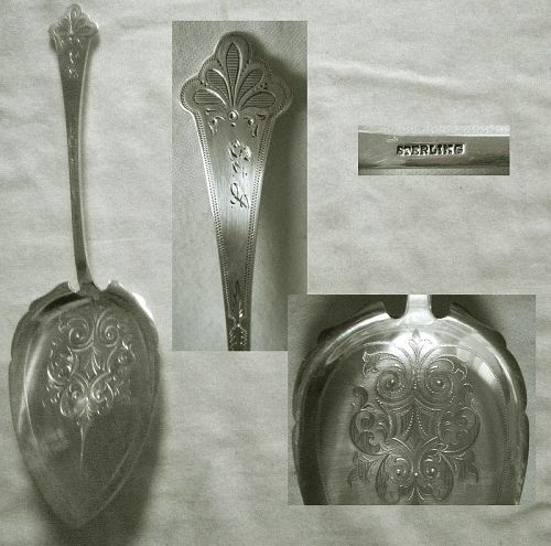 Large 19th Century Engraved Sterling Silver Pie Server