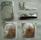 Kerr Art Nouveau Floral Sterling Silver Match Safe