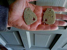 Pre-Columbian Xochipala Jade Ear Ornaments