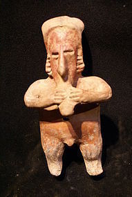 Jalisco Pottery Male Flute Playing Figure, Mexico.