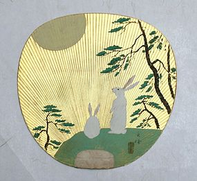 Pair of uchiwa (fan), Moon and Rabbits on Gold Leaf