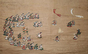 Antique Japanese Painting Samurai by Tosa Mitsuoki