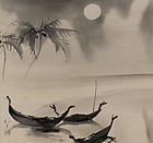 Vintage Japanese Painting Moonlight by Ryushi