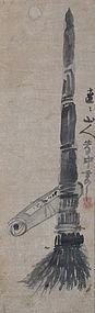 Antique Zen Buddhist Painting, Kanzan & Zittoku