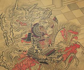Japanese Antique Painting Samurai and Oni Edo 17th C.