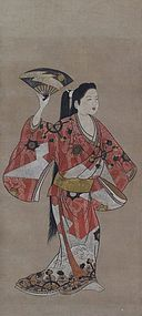 Antique Japanese Painting Dancers by Iwasa Matabei