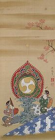 Antique Japanese Painting Bugaku zu by Yanagisawa Kien