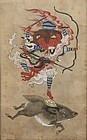 Antique Buddhist Painting Marishi-ten Molizhitian Pusa