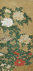 Antique Japanese Painting Peony Flower Edo period