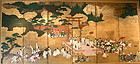 Rare Pair of Japanese Screen Depicting Rice Festival
