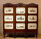 An Original Chinese 3-Panels Screen with 18 Rice Paper Paintings