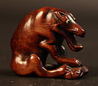 Boxwood Netsuke of a Wolf Signed Tomomasa