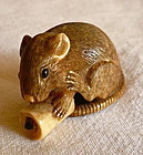 Early 20th Netsuke Mouse Holding a Candle