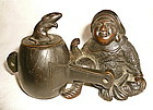 Bronze Okimono of Daikoku with his Mallet