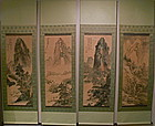 4-Hanging Scroll Paintings of Mountains Landscape