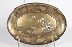 Gold Lacquered Oval Shape Tray in Shibayama