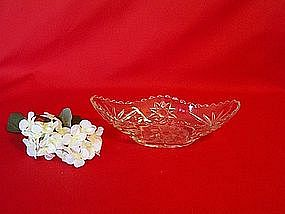 Anchor Hocking EAPG Prescut Clear Celery Boat Dish
