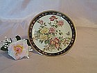 Rose and Butterfly Decorative Plate Trimmed in Gold