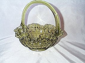 Fenton Colonial Green Thumbprint Basket
