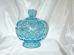 L.E. Smith's Moon and Stars Light Blue Covered Compote