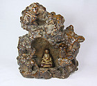 China Antique Cave Root Wood Carving Buddha Qing