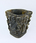 China old brushpot stone carved